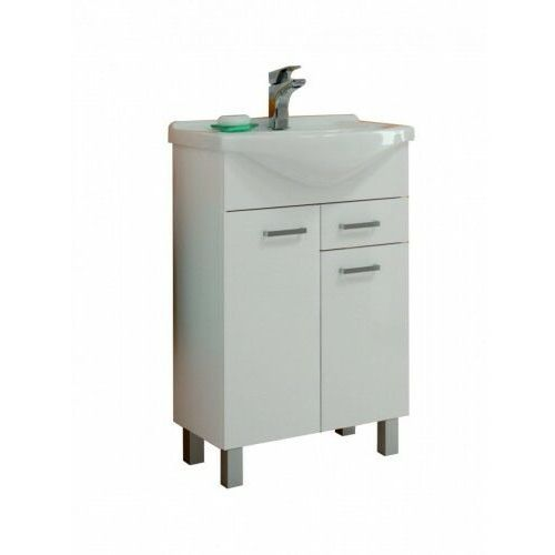 DEFTRANS NORMAN Zestaw łazienkowy szafka 2D0S D55 + umywalka, biały połysk 207-D-05506+1521, kolor biały