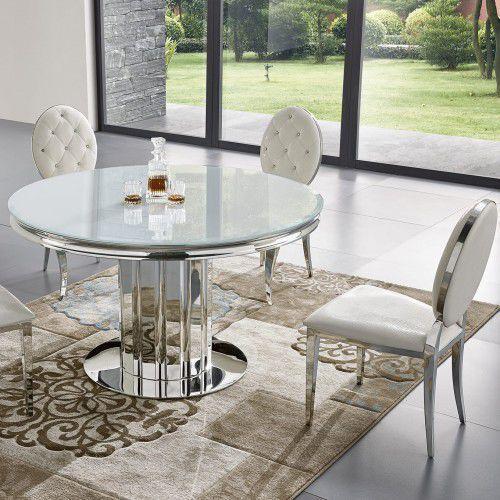 Stół glamour Retford II okrągły - stal szlachetna blat szklany nowoczesny (5908273398174)