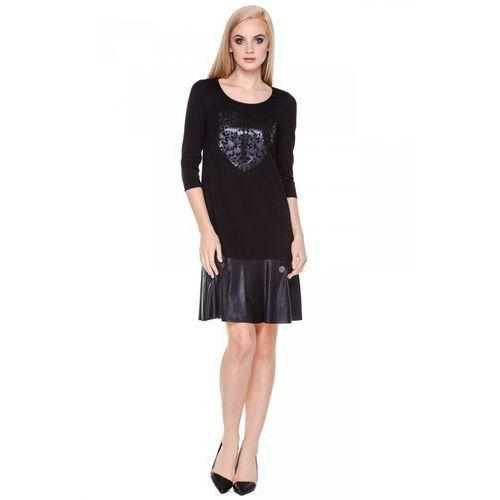 Czarna sukienka ze wzorem - marki Potis & verso