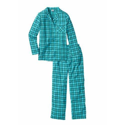 Piżama flanelowa niebieskozielony w kratę marki Bonprix