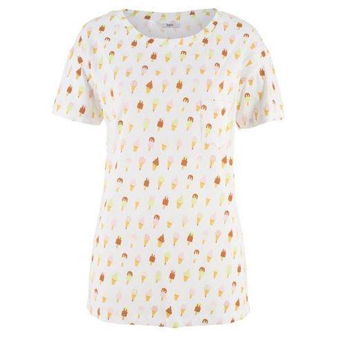 Shirt oversize z krótkim rękawem brunatny z nadrukiem, Bonprix, 36-58
