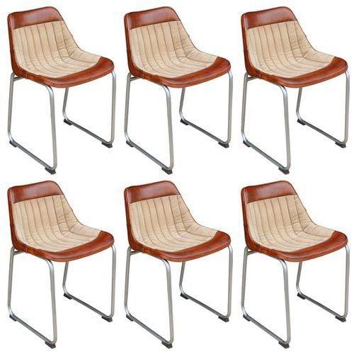 Krzesła do jadalni 6 szt. prawdziwa skóra i płótno, brąz i beż