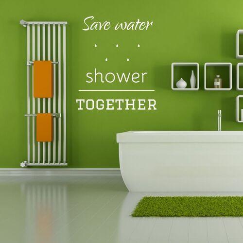 Naklejka na ścianę save water shower together 2508 marki Wally - piękno dekoracji
