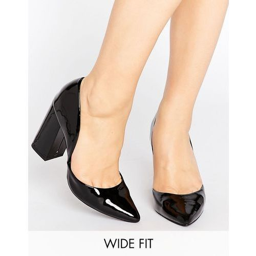 New look  wide fit block heeled court shoes - black