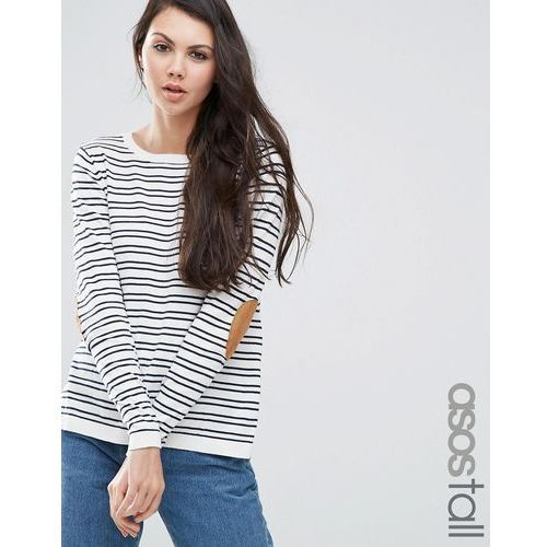 ASOS TALL Jumper in Stripe with Oval Tan Elbow Patch - Multi - sprawdź w wybranym sklepie