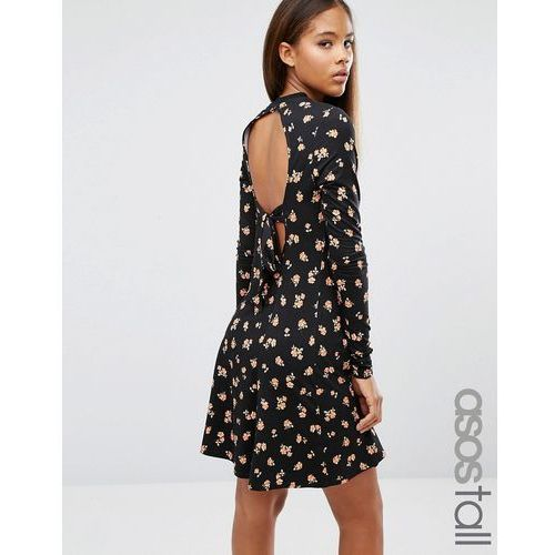 ASOS TALL Mini Skater Dress in Ditsy Floral with Open Back - Multi