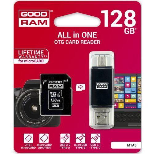 Goodram Karta pamięci micro sd 128gb all in one + czytnik kart typ c m1a5-1280r11 + darmowy transport! (5908267920176)
