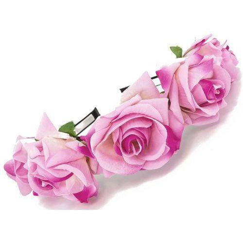 Opaska sztywna duże róże różowa - RÓŻOWA