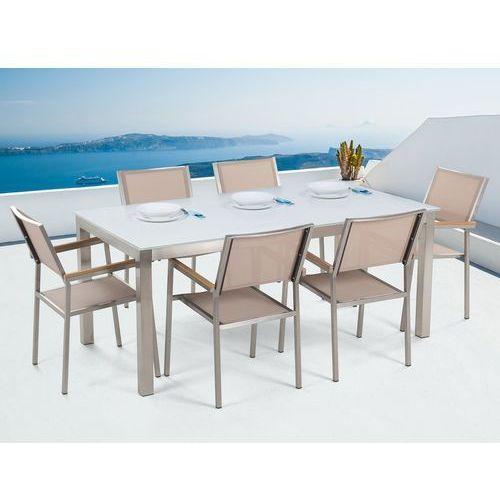 Beliani Stół szklany biały - 180 cm - z 6 beżowymi krzesłami - grosseto