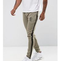 track skinny joggers in khaki with black stripe - green marki Gym king