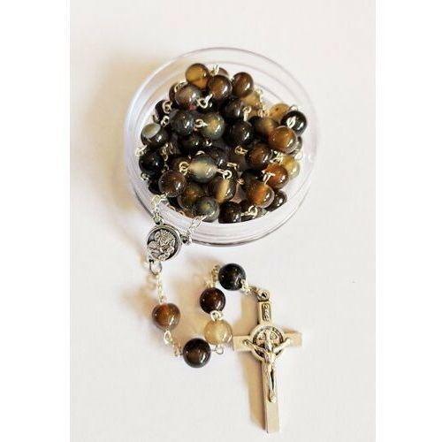 Różaniec z kamieni Agat brązowy z medalikiem Św. Jana pawła II i Matką Bożą
