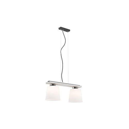 Lampa wisząca Argon Vermouth 695 drewniana z białymi kloszami zwis 2x60W E27 biała postarzana