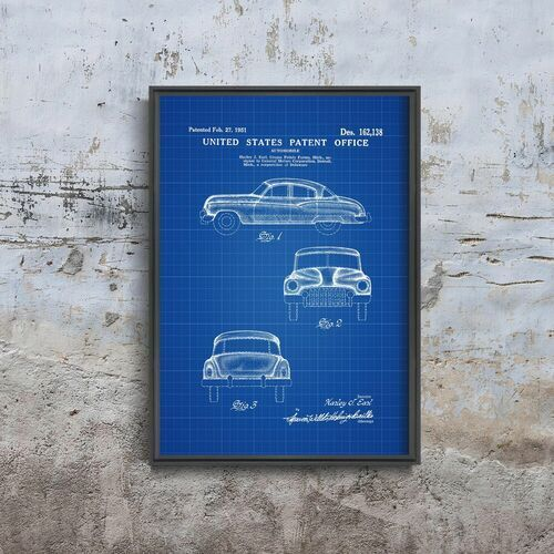 Plakat retro do salonu Plakat retro do salonu General Motors Automobile Patent Earl
