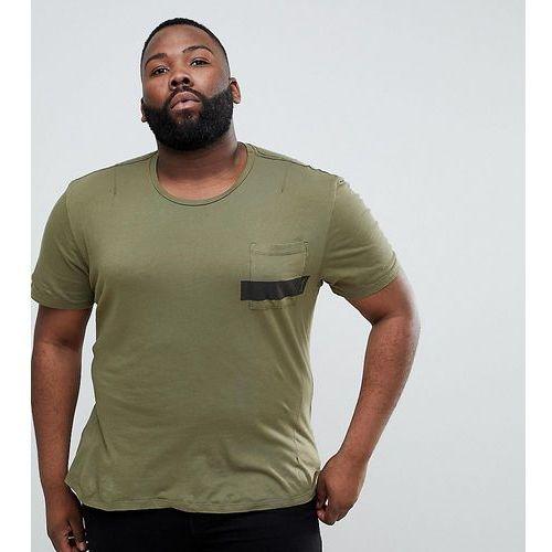 plus t-shirt in khaki with stripe pocket and stepped hem - green, Religion, XXL-XXXXL