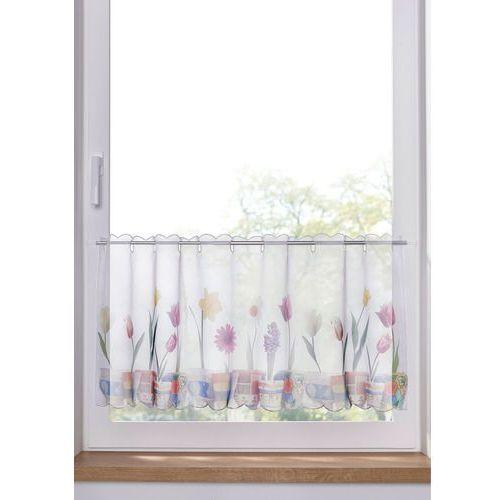 Zazdrostka z motywem doniczek z kwiatami biało-kolorowy marki Bonprix