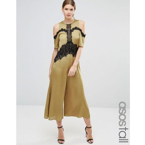 satin jumpsuit with cold shoulder and lace detail - green, marki Asos tall