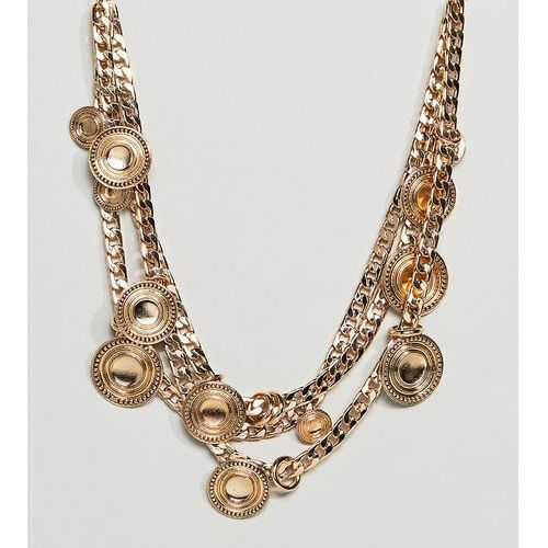 Asos design curve statement coin and chunky chain multirow necklace - gold marki Asos curve