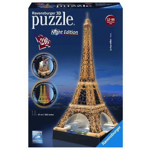 Puzzle 3D 216 elementów Wieża Eiffla nocą, CentralaZ5150