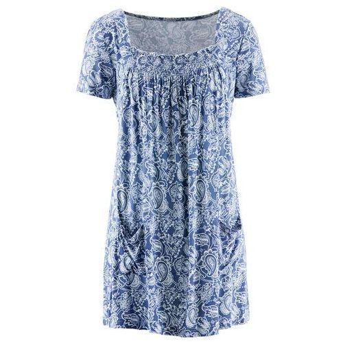 Tunika shirtowa, krótki rękaw bonprix indygo-biały wzorzysty, wiskoza