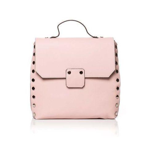 Pudrowa elegancka torebka - plecak z metalowymi nitami marki Moe