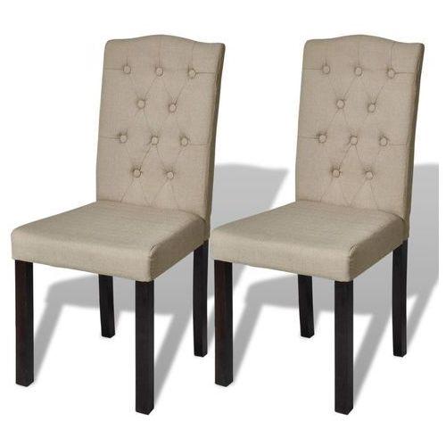 Vidaxl krzesła do jadalni tapicerowane tkaniną, beżowe, 2 szt. (8718475859338)