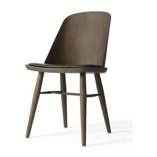 - krzesło synnes ze skórzanym siedziskiem - jesion ciemny marki Menu