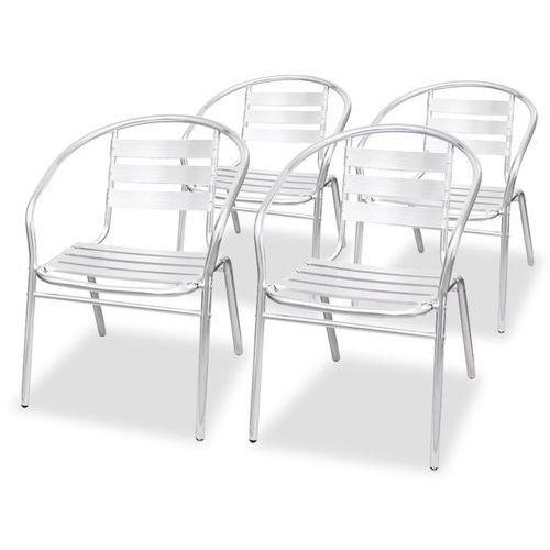 Vidaxl krzesła układane w stos, 4 szt., aluminium