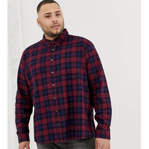 Burton Menswear Big & Tall shirt in burgundy ombre check - Red, kolor czerwony
