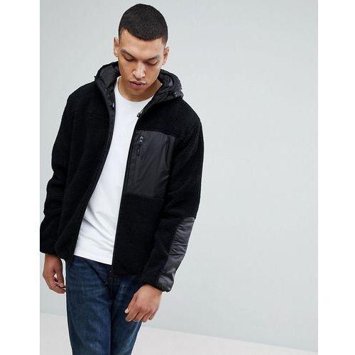 hooded zip through jacket in teddy fleece - black marki Bellfield