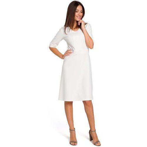 Ecru Sukienka Midi O Kroju Litery A z Rękawami do Łokcia, kolor beżowy
