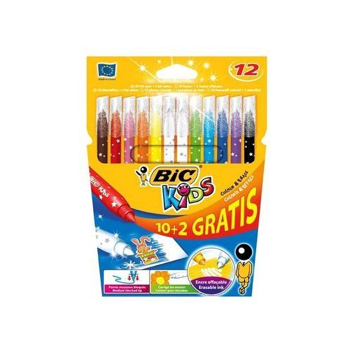 Flamastry kids colour & erase 10+2 kolory marki Bic
