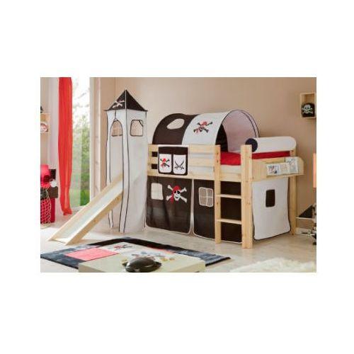 Ticaa kindermöbel Ticaa łóżko ze zjeżdzalnią kasper drewno sosnowe kolor biało-czarny pirat, kategoria: łóżeczka i kołyski