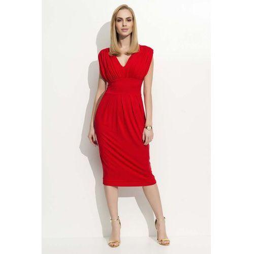 Czerwona Sukienka Dzianinowa z Marszczeniami, kolor czerwony
