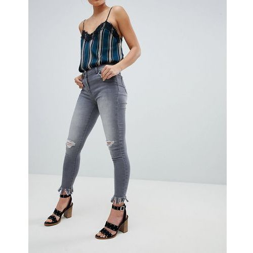 Parisian Skinny Jeans with Knee Rips and Distrssed Hem - Grey
