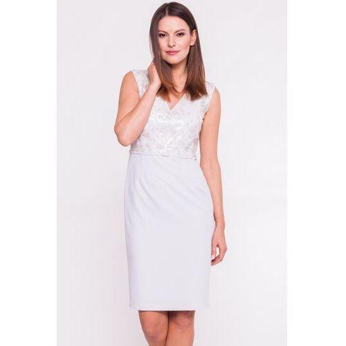 Szara sukienka z cekinową górą - Vito Vergelis, kolor szary