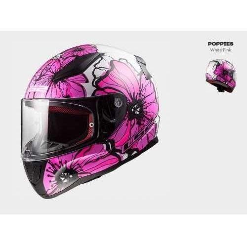 Kask motocyklowy kask ff353 rapid poppies white pink, model 2018! marki Ls2