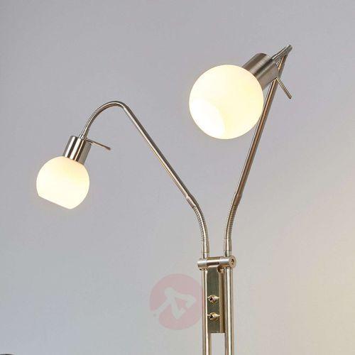 Lampenwelt.com 2-punktowa lampa stojąca led elaina, matowy nikiel
