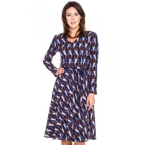 Sukienka w granatowe wzory - Bialcon