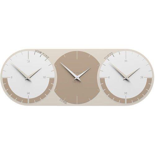Zegar ścienny - 3 strefy czasowe World Clock CalleaDesign caffelatte / biały (12-010-14)