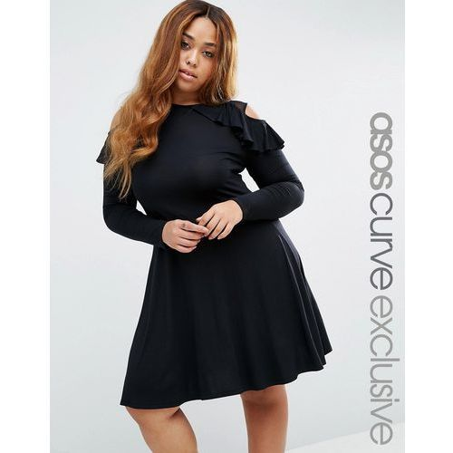 ASOS CURVE Long Sleeve Cold Shoulder Skater Dress With Mesh & Ruffle Detail - Black