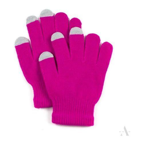 Elastyczne rękawiczki damskie do ekranów dotykowych neonowy róż - różowy marki Evangarda