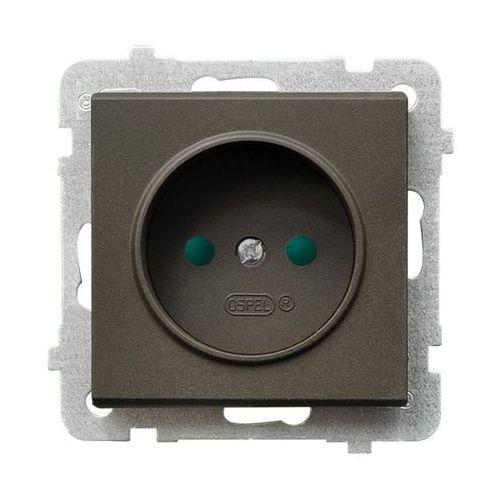 Gniazdo pojedyncze bez uziemienia z przesłonami Czekoladowy metalik - GP-1RP/m/40 Sonata