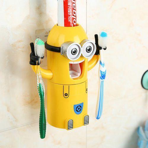 Pegman Binoculus Style Automatic Toothpaste Dispenser Squeezer Toothbrush Holder Set