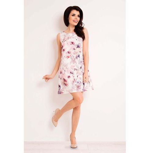 Sukienka Trapezowa Mini w Ciemne Kwiaty, w 4 rozmiarach