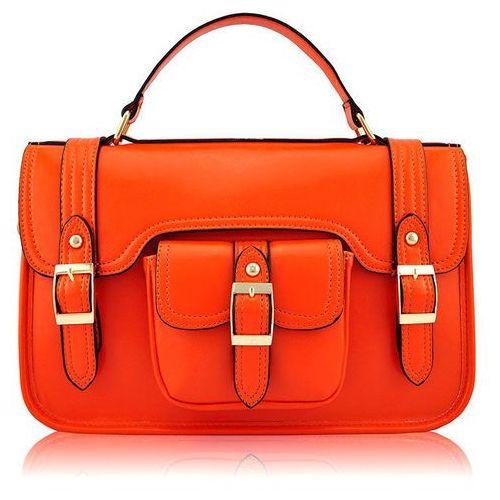 Torebka listonoszka teczka pomarańczowa - pomarańczowy, kolor pomarańczowy
