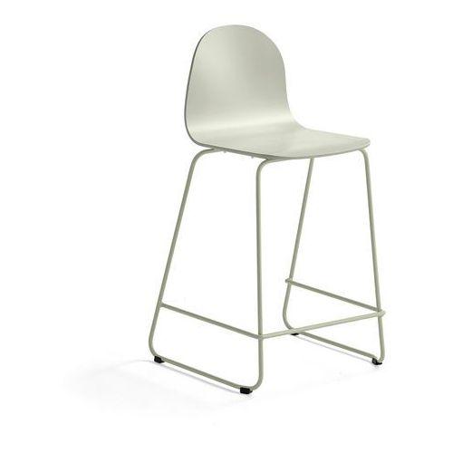 Krzesło barowe GANDER, płozy, siedzisko 630 mm, lakierowany, zielonoszary