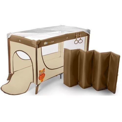 Łóżeczko turystyczne  joy z uchwytami do nauki wstawania beżowy marki Kinderkraft