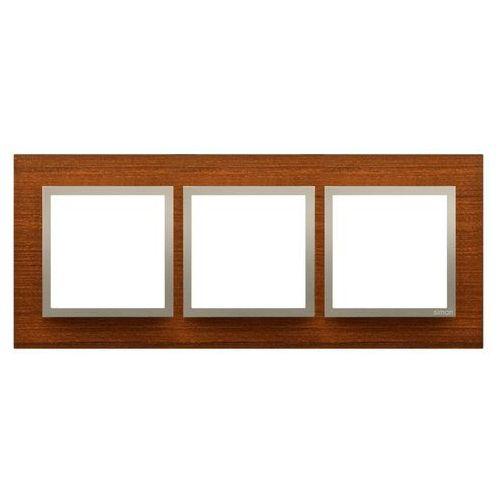 Ramka potrójna Kontakt-Simon 54 DRN3/86 drewniana złoty orzech (5902787559984)