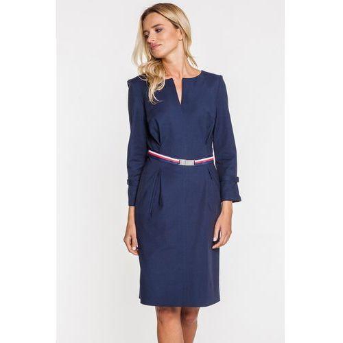 Granatowa sukienka wizytowa z ozdobnym paskiem - GaPa Fashion, 1 rozmiar
