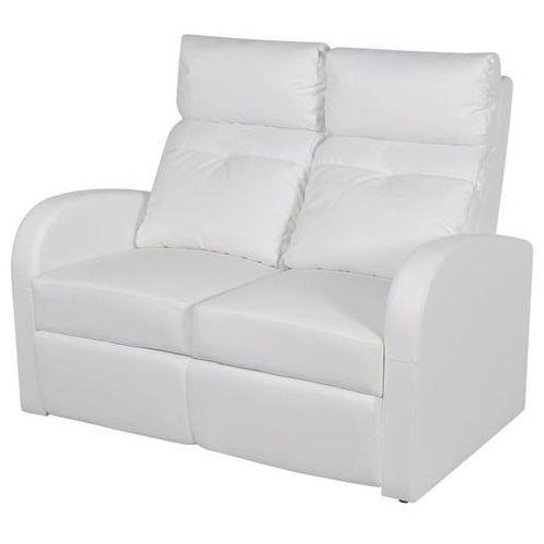 rozkładane fotele kinowe dla 2 osób, eko-skóra, białe marki Vidaxl